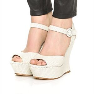 Alice and Olivia Jana wedge white snake